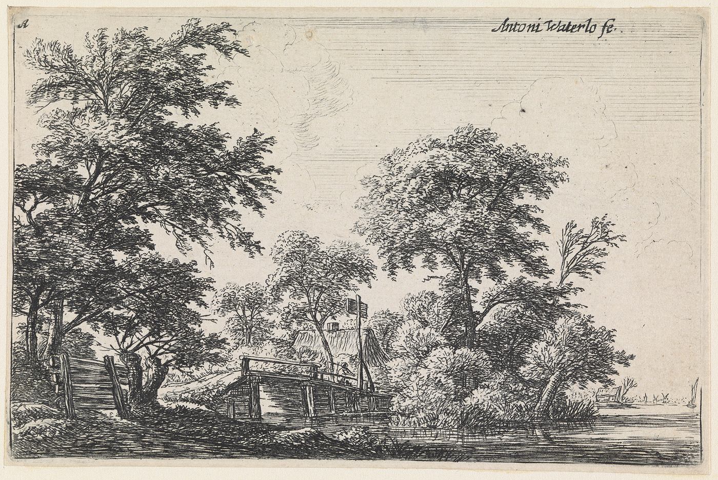 Landschap met linksonder een houten hek (nr.1 uit een serie van 12 prenten)