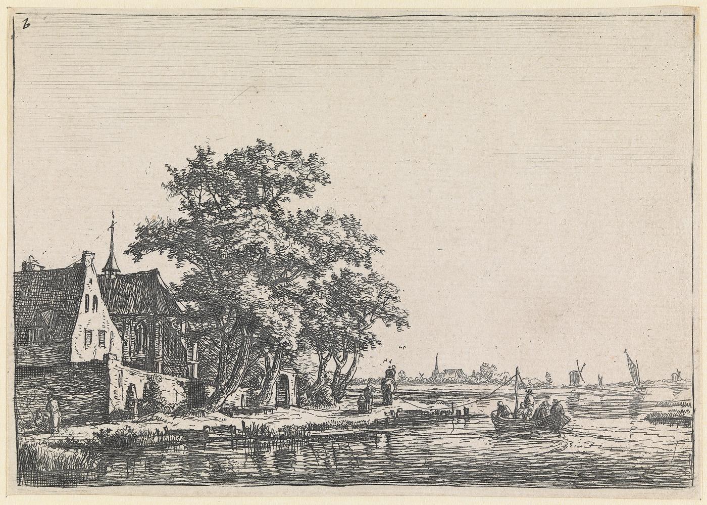 Kerkhof aan de oever van het water (nr.2 uit een serie van 12 prenten)