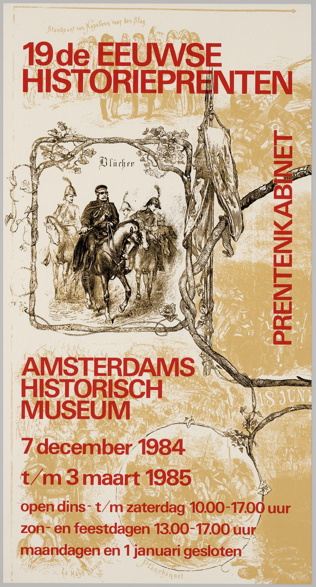 1984-1985, affiche voor tentoonstelling 19de eeuwse historieprenten