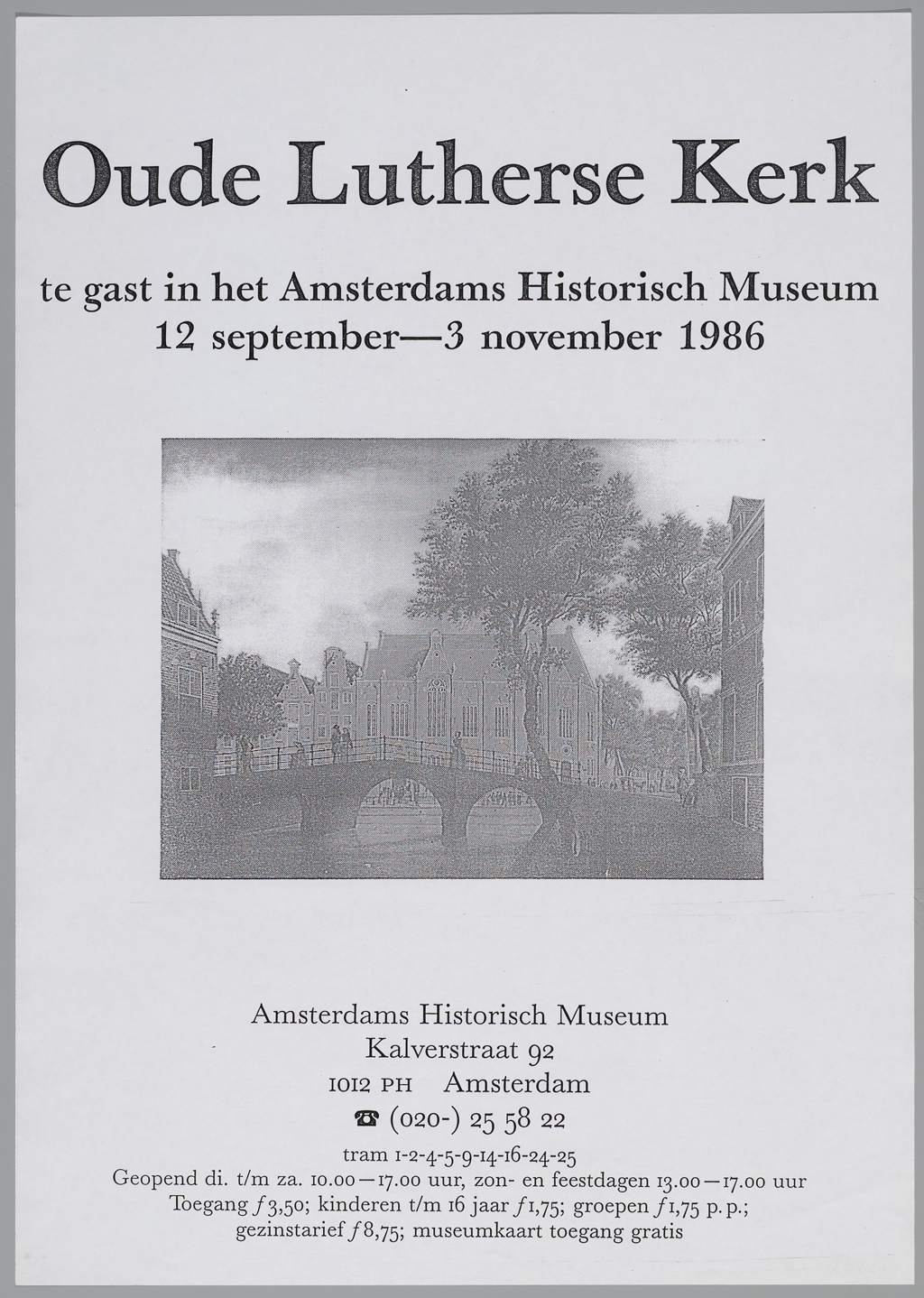 1986, affiche voor tentoonstelling Oude Lutherse Kerk