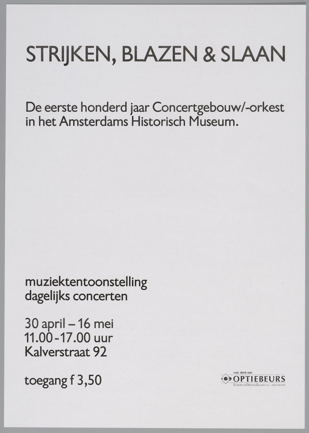 1988, affiche voor tentoonstelling Strijken, blazen & slaan
