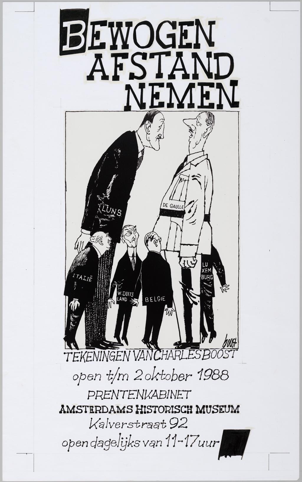 1988, ontwerp voor affiche tentoonstelling Bewogen afstand nemen