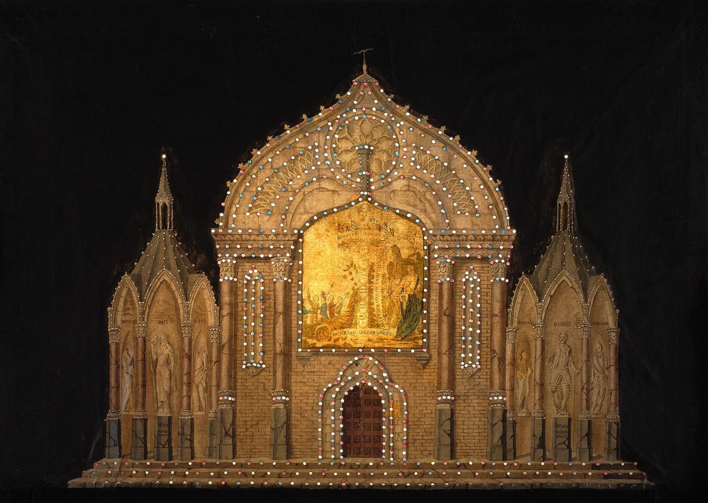Afbeelding van de illuminatie bij de Botermarkt: vernietiging van de oude constitutie