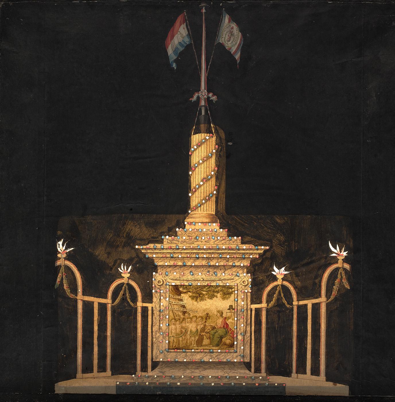 Afbeelding van de illuminatie bij het Amstelveld: het volksbewind gevestigd