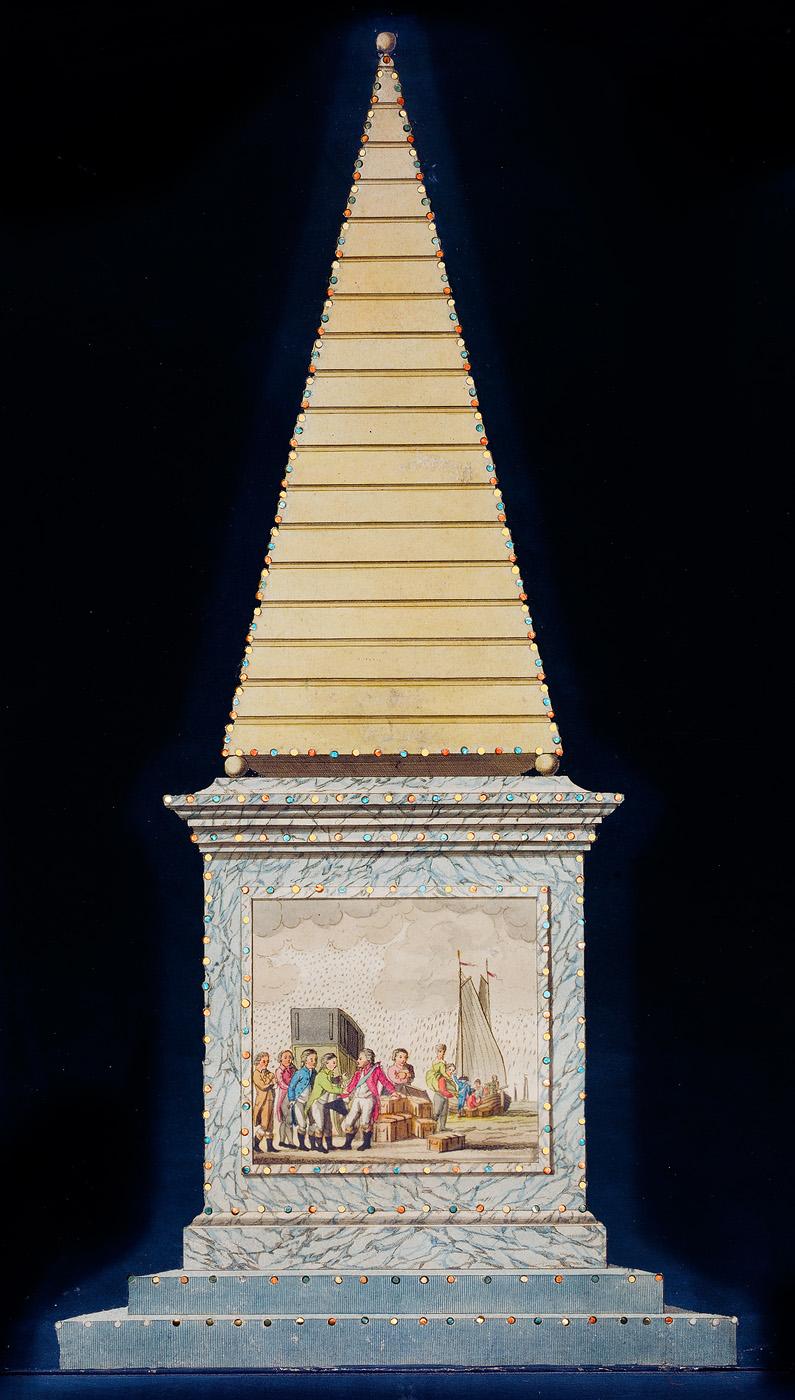 Afbeelding van de illuminatie in de Plantage: de vlucht van Willem V
