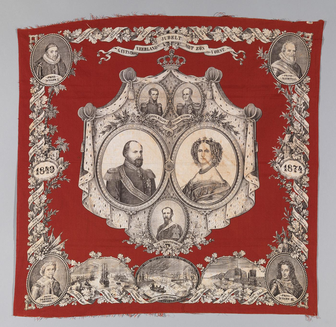 Doek t.g.v. 25-jarig regeringsjubileum koning Willem III en koningin Sophie