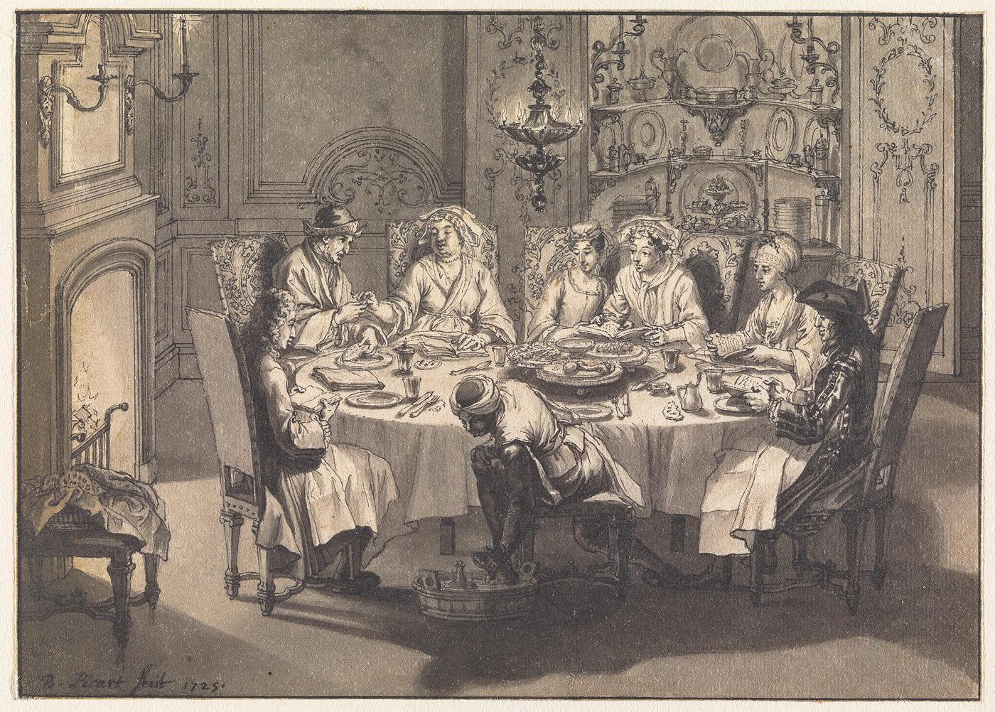 Maaltijd tijdens het joodse Pasen bij de Portugese joden