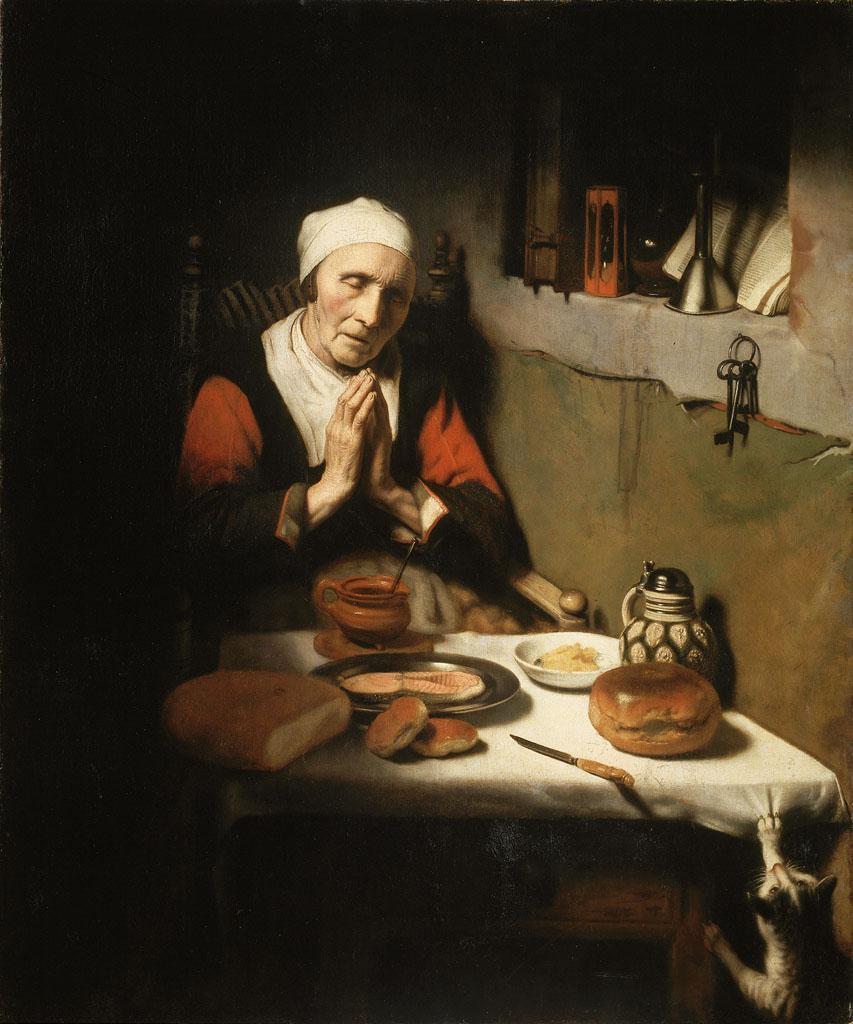 Oude vrouw in gebed, 'Het gebed zonder end'